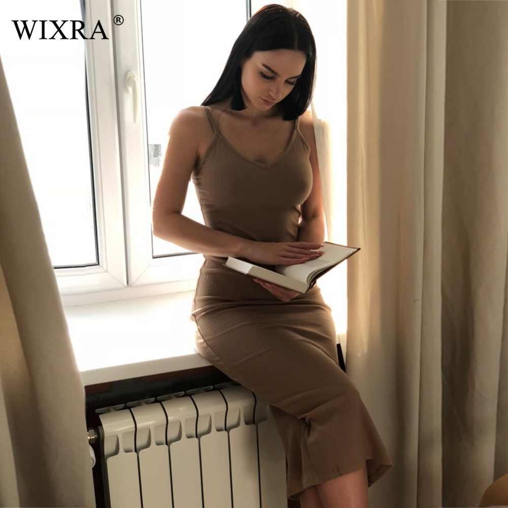 WIXRA, базовое платье, сексуальное, облегающее, вечерние, женское, v-образный вырез, с разрезом по бокам, вязанное, летнее, на бретельках, платья, 2018, модное, элегантное, миди платье