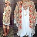 2017 Verão Jaqueta Blusa Estampa floral Vintage Boho Chiffon Kimono Kimono Xale Solto Cardigan Fino Casaco Novo para As Mulheres Da Moda