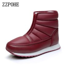 цена на ZZPOHE Women Snow Boots Winter Fashion Waterproof ankle Female boots women thick Non-slip cotton shoes Mother Shoes Plus Size 43