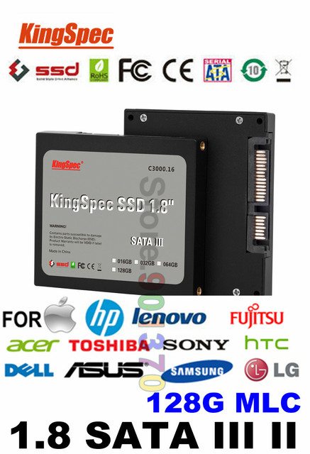 "Kingspec High Speed 1.8"" SATA III AND 1.8  SATA II  SSD 128GB Solid State Drive HDD HD SSD Disk Internal Hard Drives CE FCC ROHS"