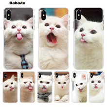 Babaite Cute tongue white cat Original Phone case cover  for Apple iPhone 8 7 6 6S Plus X XS max 5 5S SE XR Cover black cover lovely cat for iphone x xr xs max for iphone 8 7 6 6s plus 5s 5 se super bright glossy phone case