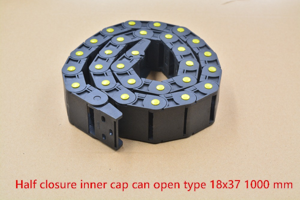 1pcs Yellow Half Closure Inner Can Open Drag Chain Plastic 18mmx37mm   With End Connectors L 1m Engraving Machine Cable