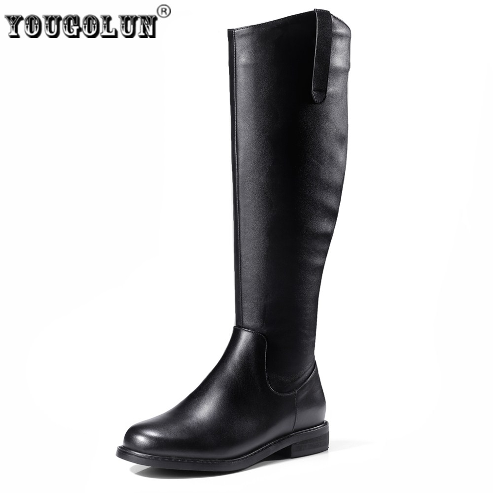 YOUGOLUN women knee high boots woman autumn winter thigh high boots women's genuine leather boots ladies 2017 roud toe shoes yougolun ladies fashion thigh high over the knee boots woman autumn winter womens female sexy nubuck suede leather women shoes