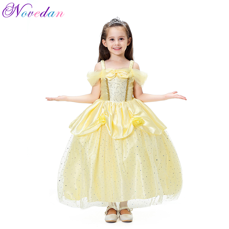 Sexy Yellow Beauty And The Beast Belle Princess Dress Kids Girls Carnival Halloween Party Cosplay Costume Fancy Dress