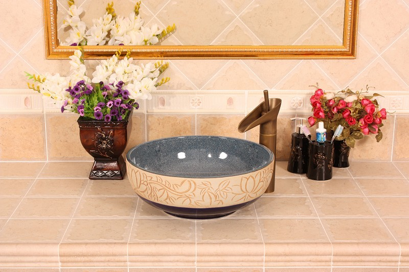 Europe Vintage Style Ceramic Art Basin Sinks Counter Top Wash Basin  Bathroom Vessel Sinks Vanities Porcelain Art Wash Basin