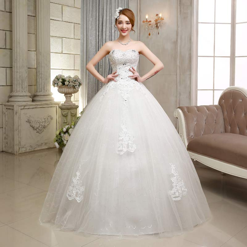 2017 new stock plus size women pregnant bridal gown wedding dress ball gown sexy sweetheart lace white bling diamond long 605