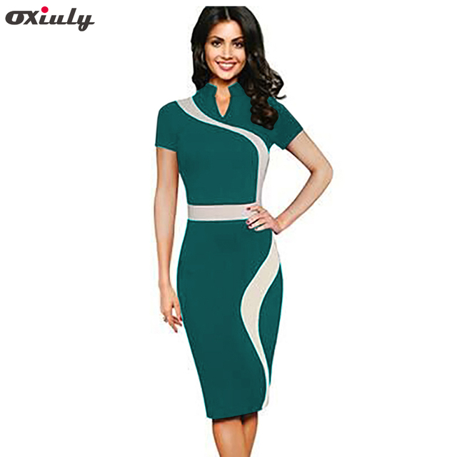 277ce646fc3fe US $22.12 |Oxiuly Womens Vintage Contrast Colorblock Slimming Wear To Work  Office Business Casual Party Pencil Sheath Bodycon Dress-in Dresses from ...
