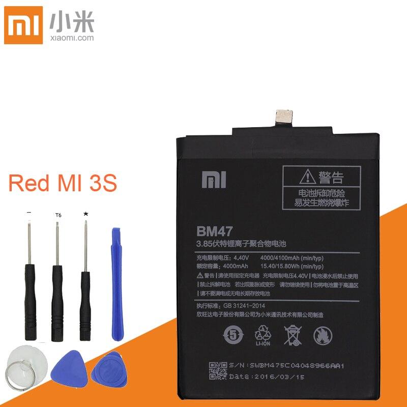 Xiao mi vermelho Mi 3 s BM47 alta QUALIDADE De Grande capacidade 4000 Mah da bateria De Substituição da Bateria Original Para Red Mi 3X 4X Vermelho mi 3 3 s 4X