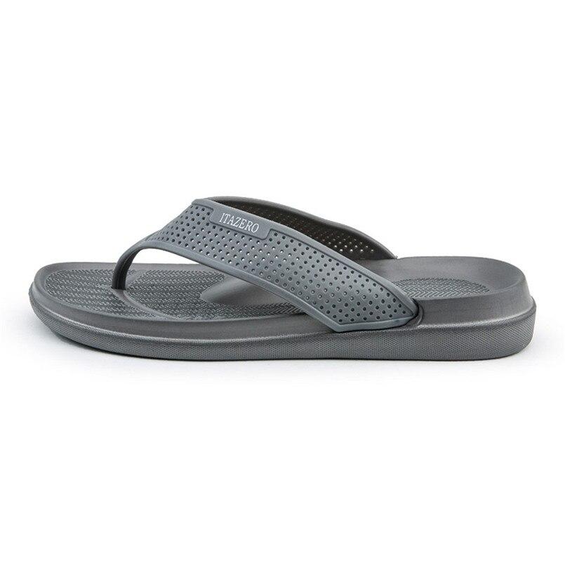 Г., новые мужские шлепанцы Летняя модная повседневная обувь однотонные пляжные сандалии дышащие Вьетнамки, обувь B1 - Цвет: Серый