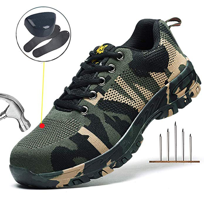 Msleep Steel Toe Shoes Work Safety Shoes Puncture Proof Footwear Breathable for Men Summer gris 36