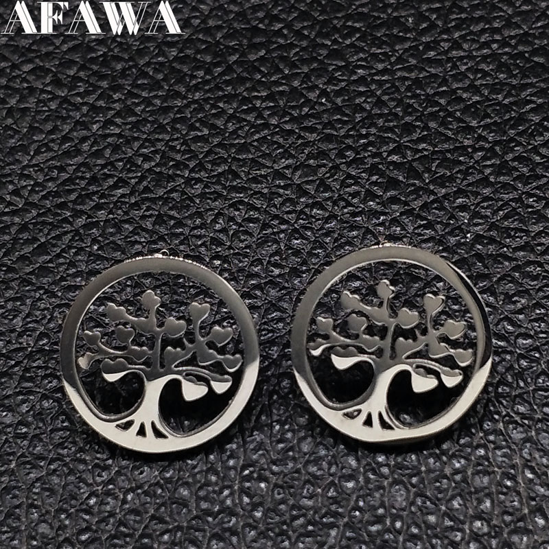 2018 Wholesale 6PCS Silver Color Stainless Steel Earings Jewelry Tree of life Studs Earrings for Women Jewellery aretes E612396