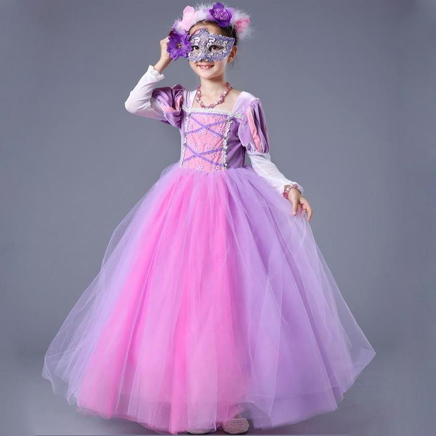 Kids Girls Princess sofia Rapunzel Dresses Full Ball Gown Long Party ...