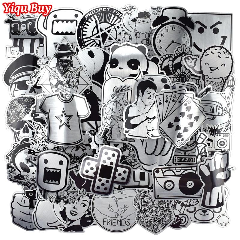 100 Pcs Metallic Black And White Stickers For Laptop Skateboard Luggage Car Styling Home Decor JDM Cool Funny Waterproof Sticker