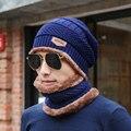 [Dexing] 2 pcs russo caps skullies gorros de malha chapéu do inverno dos homens gorro de inverno chapéus para homens gorro quente chapéu feito malha e um lenço