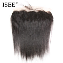 ISEE 13×4 Lace Frontal Closure With Baby Hair Straight Hair Extension Remy Human Hair Hand Tied