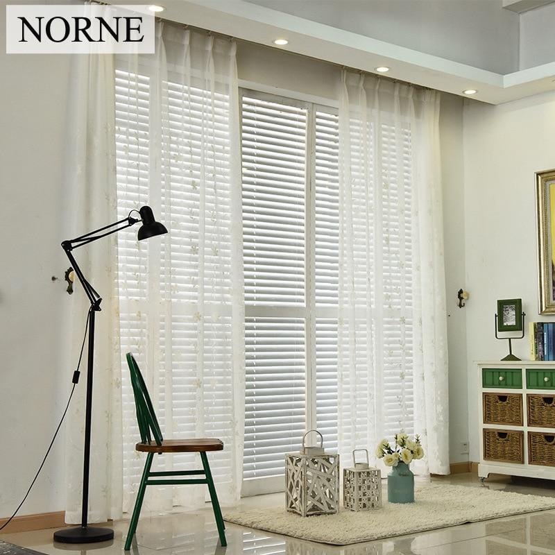 NORNE 수 놓은 세미 흰색 깎아 지른 커튼 깎아 지른 Voile 호화로운 높은 스레드 창 커튼 침실 다이닝 거실 문