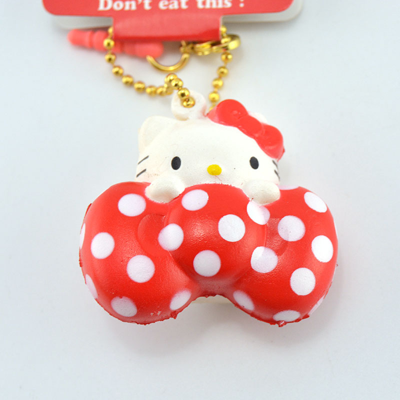 Kawaii Licenced Hello Kitty Squishy Soft Sweet Red Dot Bow Bread Cartoon Toy Ballchain With Tag 1pcs