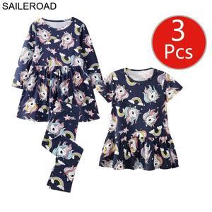 Image 5 - SAILEROAD 3pcs Girls Dress Leggings Sets for Toddler Girls Summer Autumn Clothing Unicorn Children Dresses Clothes for Girls