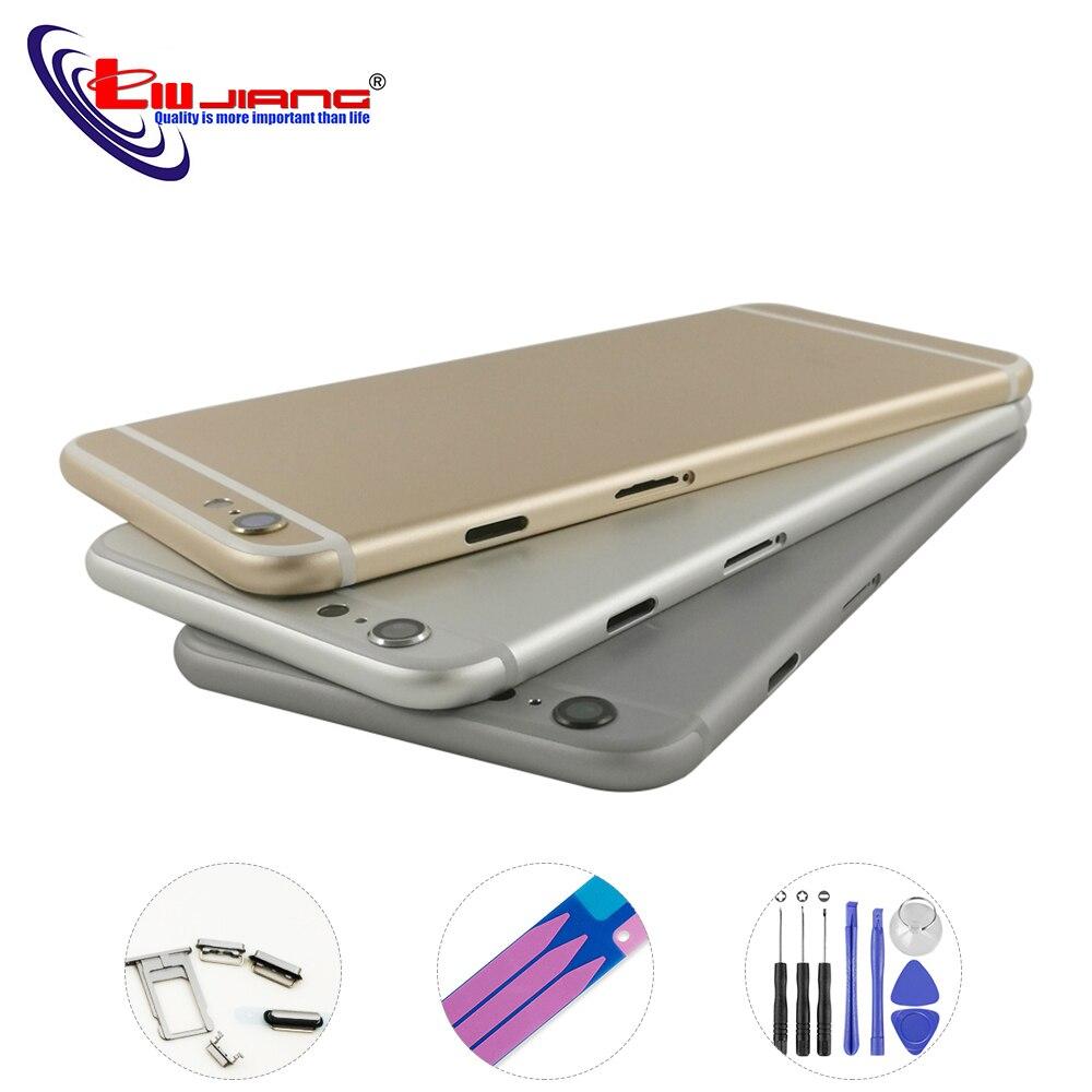 Liujiang nueva carcasa trasera para iPhone 6 6 s Plus carcasa cuerpo medio chasis con IMEI piezas de reparación de repuesto