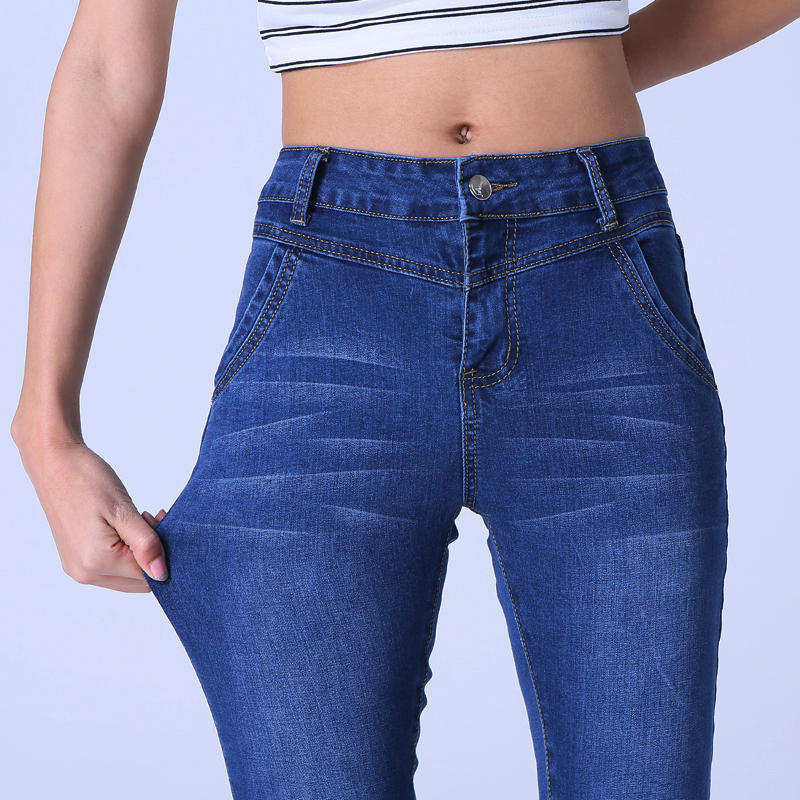 High Wlastic Skinny Jeans Women Full Length Trousers Autumn Fashion Plus Size Slim Washed Bleached Pencil Pants Blue Denim Jeans sexy diamond sequined scratched pencil pants washed low waisted full length denim women jeans trousers womans plus size