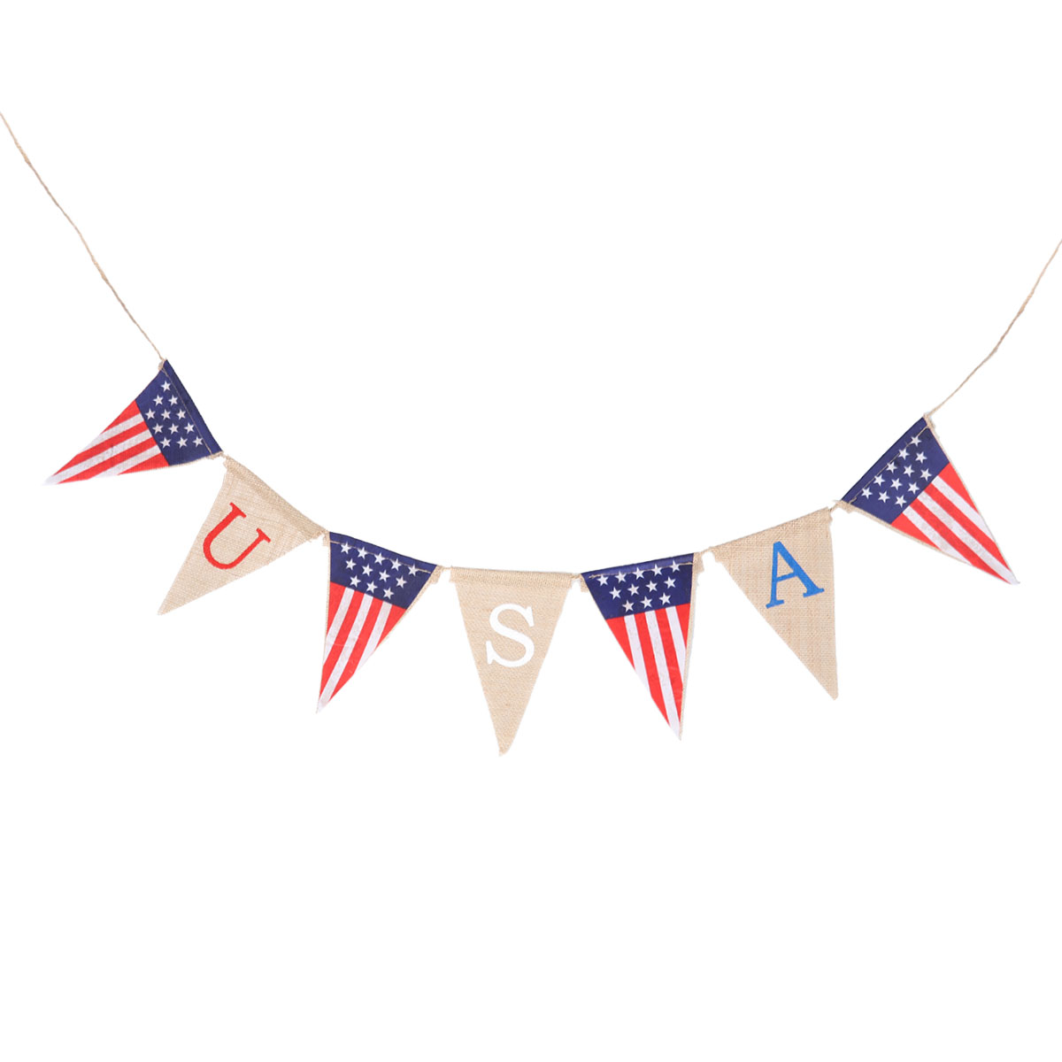 American USA July 4th Party Event Celebration 6 x Pennant Flag Decorations