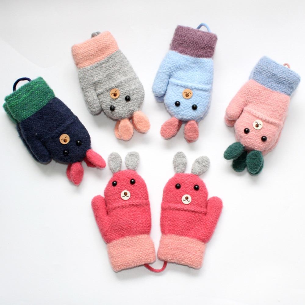 Winter Baby Boy Girl Warm Rope Gloves Kids Knitted Thicken Full Finger Mitten