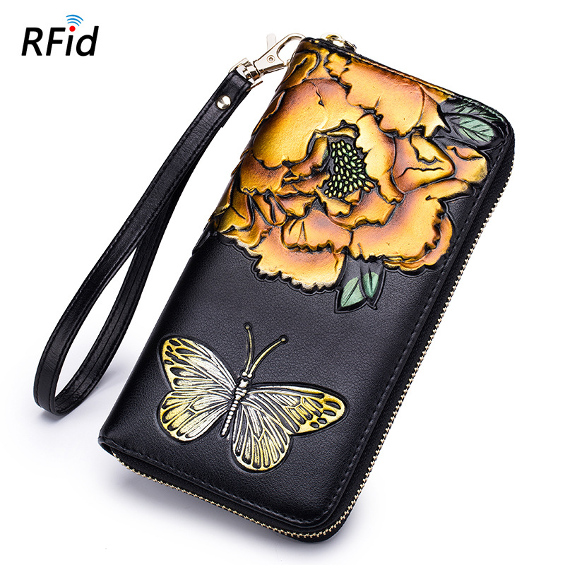 Credit Card Holder Rose Purse Lady Long Real Leather RFID Wallet Women Clutch Bag Portfel Key Holder Carteira Flower Coin Purse ...
