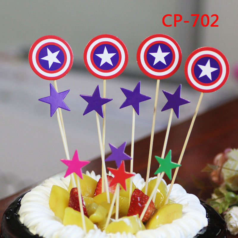 Cartoon Captain America Cake Decorative Toppers Birthday Wedding