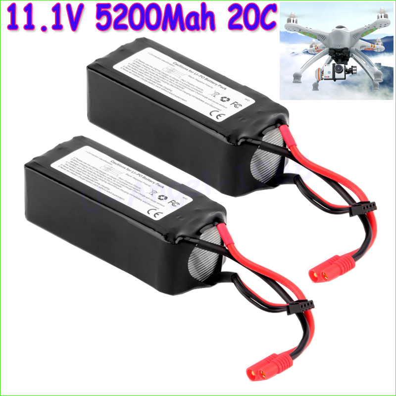Wholesale 2Pcs Lipo Battery 11.1V 5200Mah 3S 30C For Walkera QR X350 PRO RC Drone Quadcopter Helicopter Toy Parts Original qr x350 pro z 06 brushless motor spare parts for walkera qr x350 pro