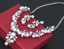 NANBO New Rhinestone Earrings Necklace Wedding Party Body Jewelry Pearl Leaf Sets Promotion MX1405