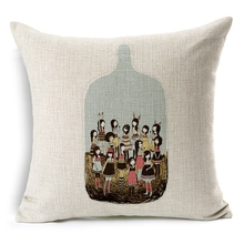 Hot Sale Pillow Covers Creative Design The World In Bottle Pattern 45X45CM Linen Pillow CoverHome Decorative Linen Cushion