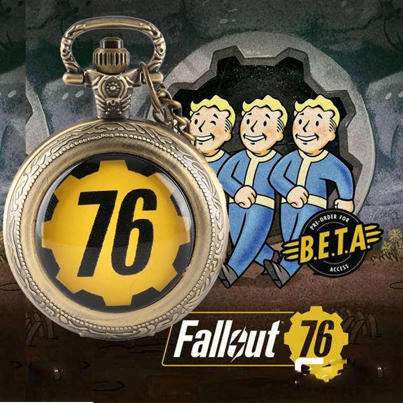 все цены на Fallout 76 Vault 111 FALLOUT 4 Theme Quartz Pocket Watch Pendant Retro Bronze Chain Necklace Unique Souvenir Gifts for Game Fans