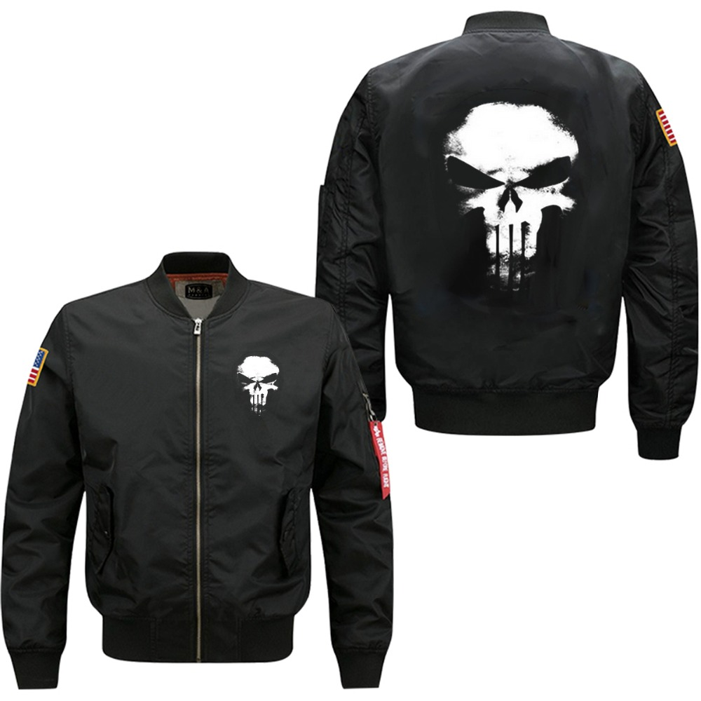 spring autumn man bomber jacket Ghost rider skull print add cotton waterproof and windbreak jacket US size