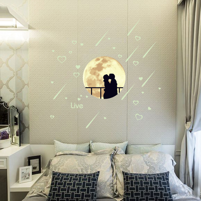 Luminous Stickers Glow In The Dark Romantic Star Love Meteor Shower Wall Sticker Night Light Decal Vinyl Mural Home Decor CC-124
