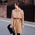 2016 Sashes Regular Bayan Kaban Inverno Meninas Casaco de Lã Temperamento Cintura fina Laço Feminino Plus Size Casacos Para Mulheres Novo chegada