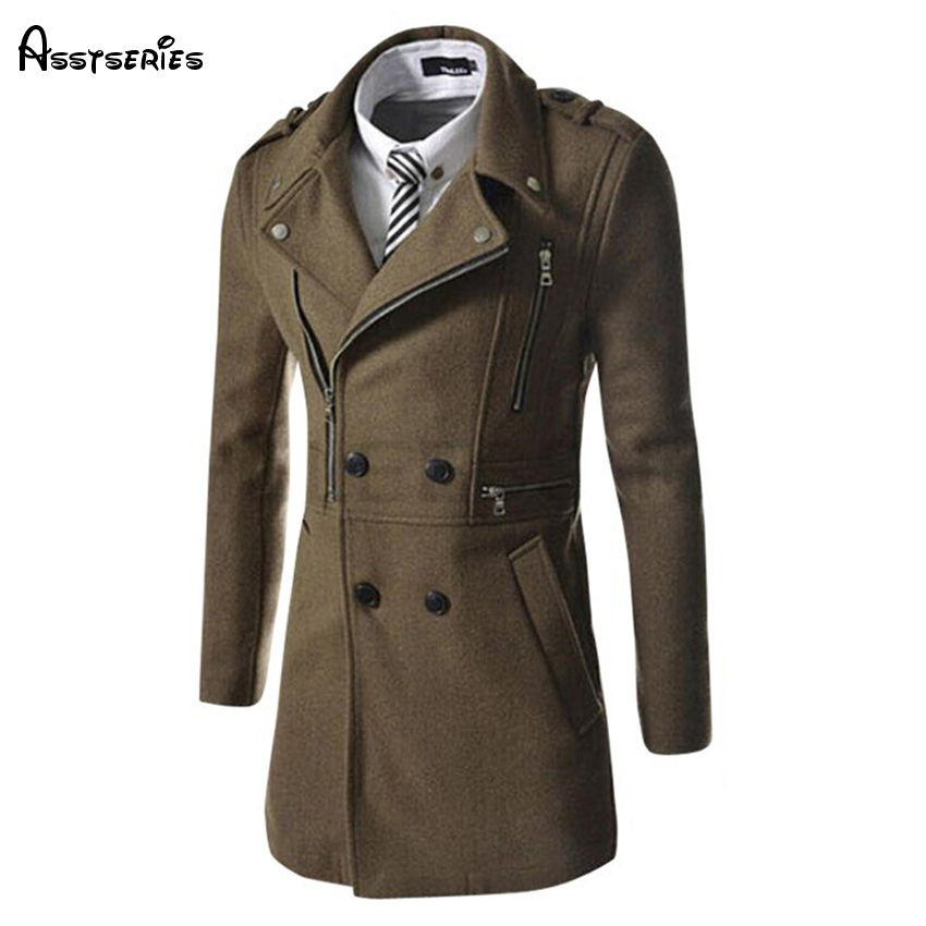 Free Shipping 2018 Men Outwear Woolen Coat Autumn Winter Men's Fashion Coat Multi Zipper Design Woolen Coat D99