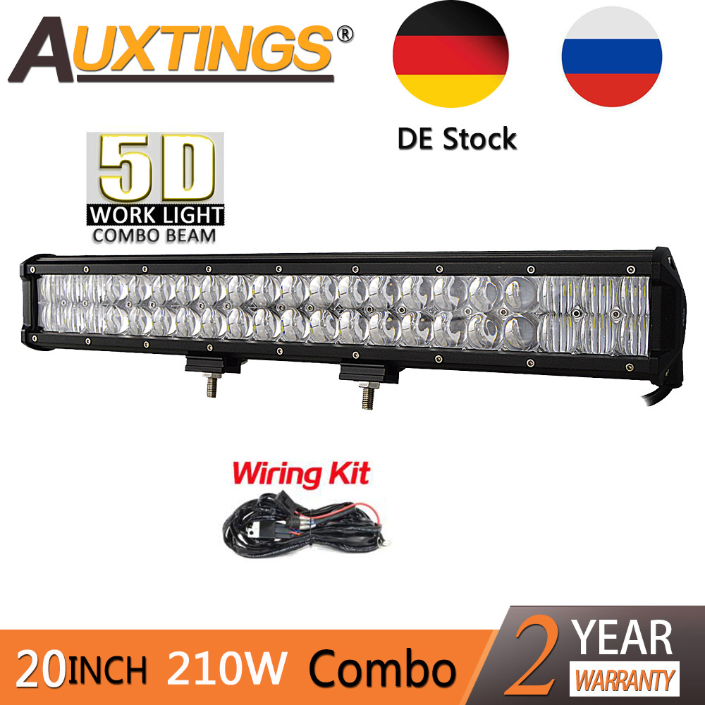 Auxtings 20inch 210w Work Light dual rows IP67 waterproof CE RoHS straight car 5D LED light bar for JEEP truck car truck led ramp 36w led light bar with ip67 waterproof rate