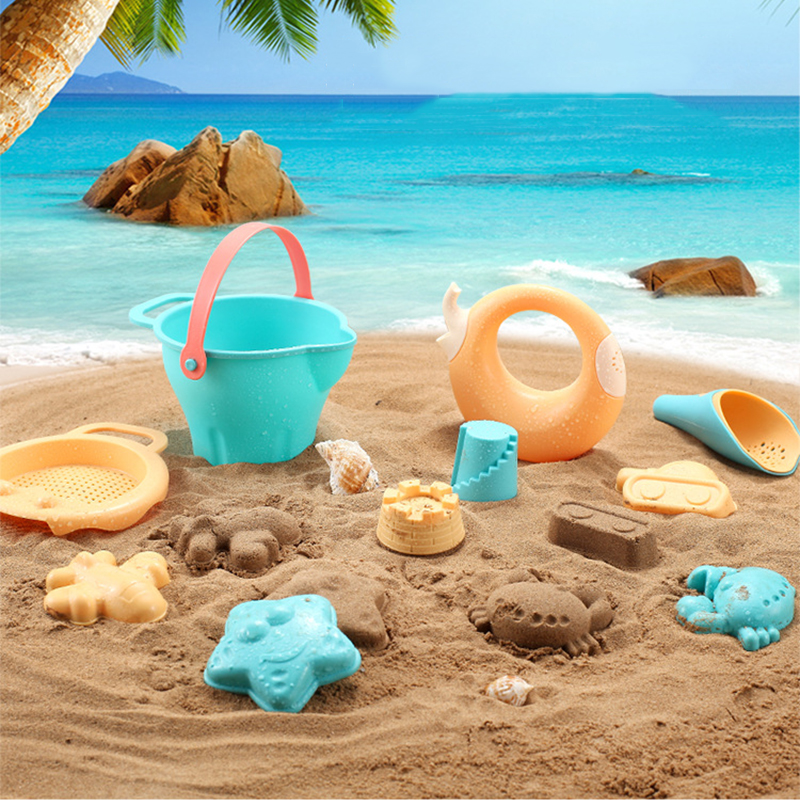 Boxi In Stock Beach Toys For Children Soft Silicone Sand Bucket Shovel Water Play Mold Tool Educational Summer Gift Toy For Kids