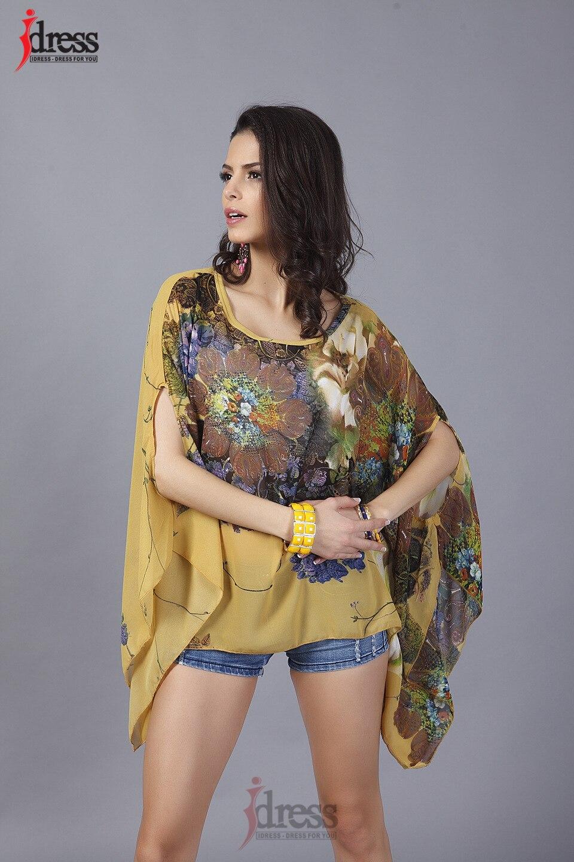 IDress Plus Size Women Clothing 2017 Summer Fashion Sexy Chiffon Tops for Women Vintage African Print Short Sleeve Sexy T Shirt (7)