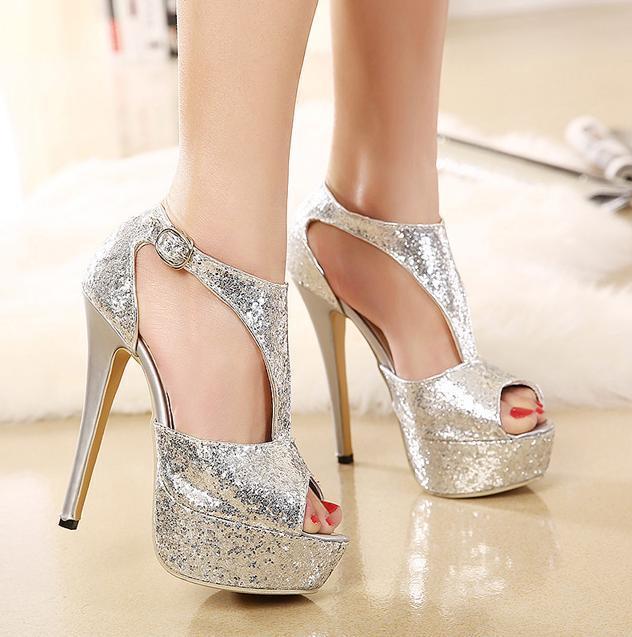 Wedding High Heels Sandals: Bling Glitter Wedding Shoes 14cm T Strap Peep Toe Fashion