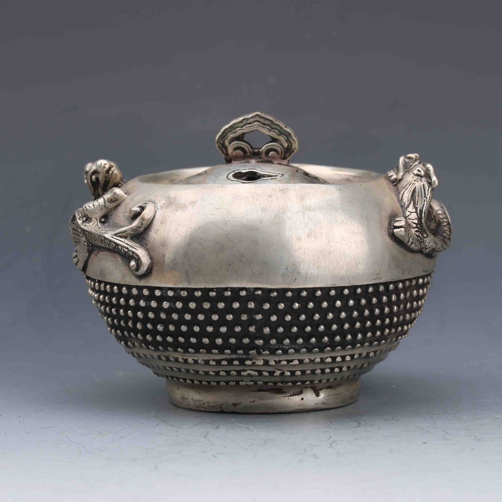 MIAO SILVER HANDWORK-CARVED DRAGON INCENSE BURNERMIAO SILVER HANDWORK-CARVED DRAGON INCENSE BURNER