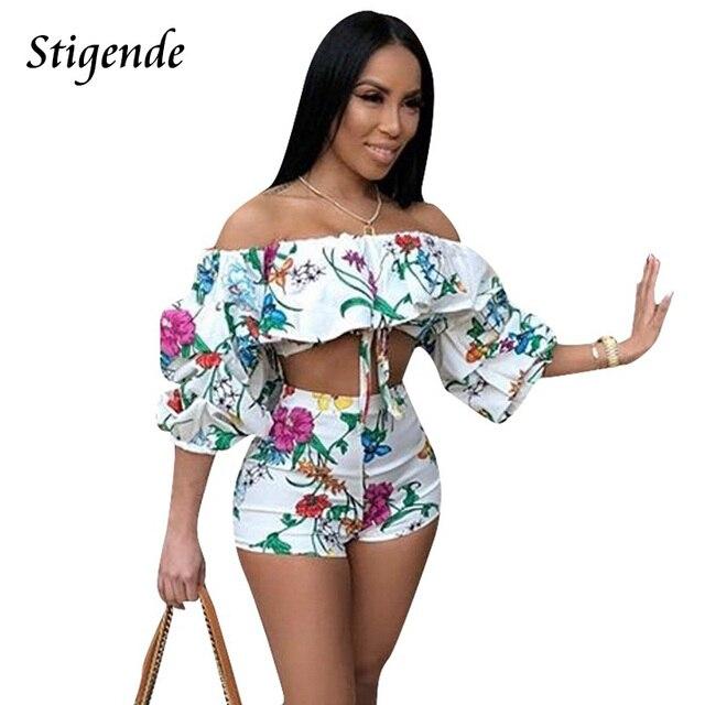 230e1e25869 Stigende Summer 2 Piece Set Floral Print Women Crop Top Shorts Set Half  Sleeve Off Shoulder