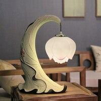 Styl lampy lotus lampy stołowe osobowość twórcza retro sypialnia biurko szkolne pulpit lotosu liści lotosu żywicy lampy stołowe ZS145 w Lampy stołowe od Lampy i oświetlenie na