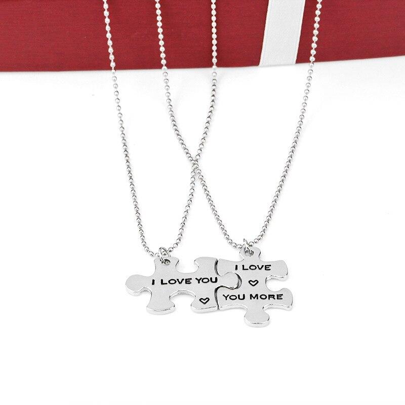 Я люблю тебя/я люблю тебя больше пары Ожерелья для мужчин Комплект Кулон пары ювелирные изделия, идеальный подарок для друга подруги для дру...