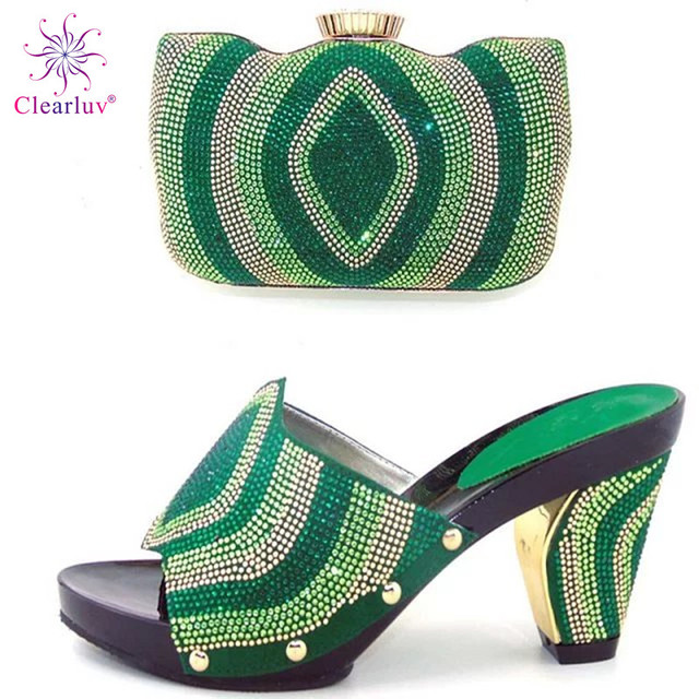 Clearluv 12070718 GREEN African Pumps Shoes And Bag Set Italy Design High Heels  Shoes With Matching Bag For Occasion BCH-27 8bb201f30aad