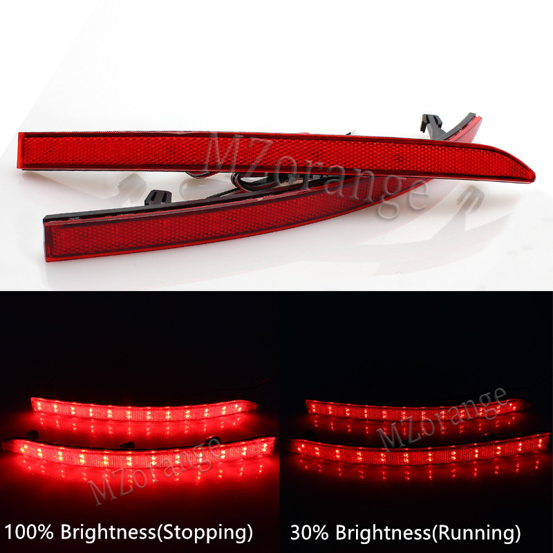 MZORANGE For Volkswagen VW Tiguan 2008-2015 Red Lens LED Rear Reflectors Light Car Tail Fog Lamp Brake Stop Night Running Lights for vw volkswagen polo mk5 6r hatchback 2010 2015 car rear lights covers led drl turn signals brake reverse tail decoration