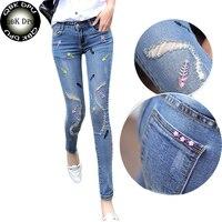 Vrouwen leuke skinny elastische denim broek 2018 nieuwe collectie mode straat dragen grote maat potlood jeans voor sexy sheer laagbouw jeans
