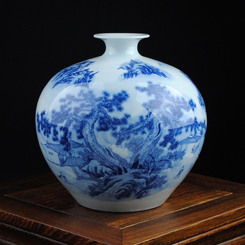 blue and white porcelain vase of modern decoration crafts study Home Furnishing pomegranate living room decoration