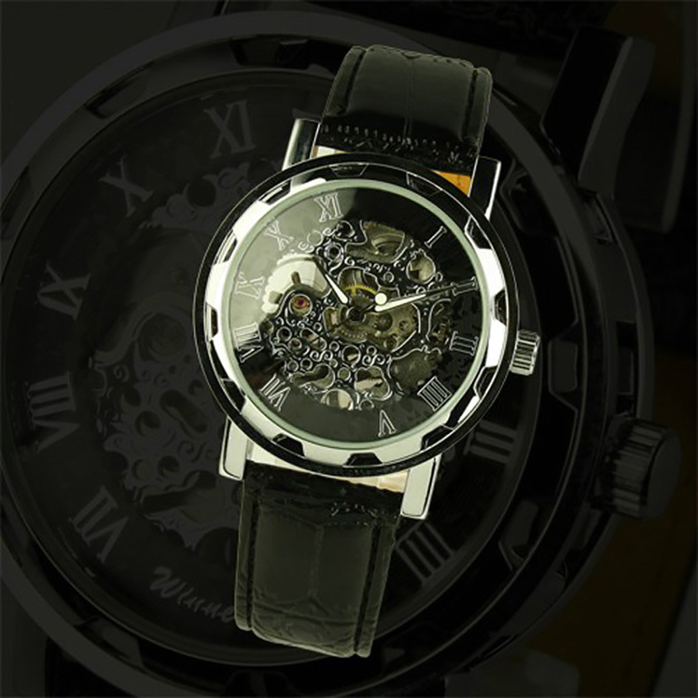 Men's Black Dial Leather Strap Luxury Watch Stainless Case Hand-Wind Up Mechanical WristWatch Watches relogio masculino  1pcs men s luxury mechanical wristwatch skeleton watches hand wind up leather strap free shipping wholesale relogio masculino j5