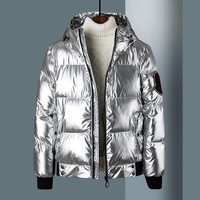 winter mens down coat free cut coat for snowy weather silver bright white down jackets on duck down bomber jacket street park
